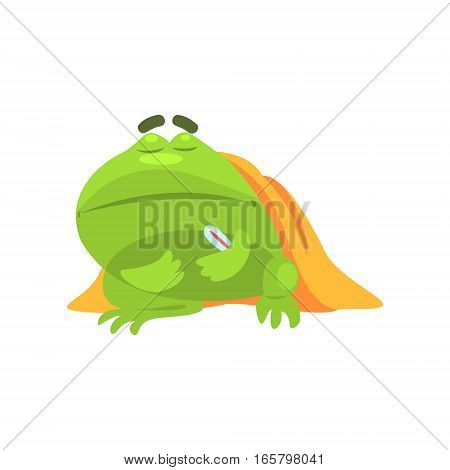 Sick Green Frog Funny Character With Blanket And Thermometer Childish Cartoon Illustration. Flat Bright Color Isolated Funny Toad Life Situation Vector Sticker.