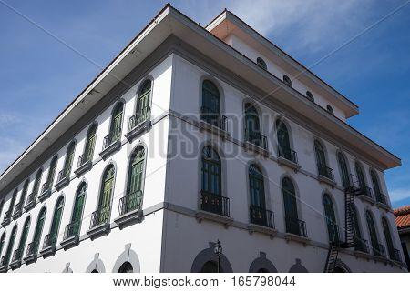 June 15 2016 Panama City Panama: closeup of a newly renovated historical building in the Casco Viejo area of the capital city