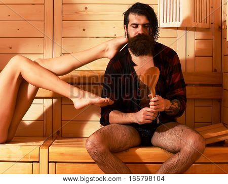 Handsome Man And Female Legs