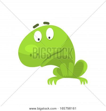 Curious Green Frog Funny Character Childish Cartoon Illustration. Flat Bright Color Isolated Funny Toad Life Situation Vector Sticker.