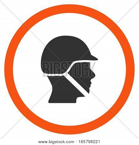 Soldier Helmet vector bicolor rounded icon. Image style is a flat icon symbol inside a circle, orange and gray colors, white background.