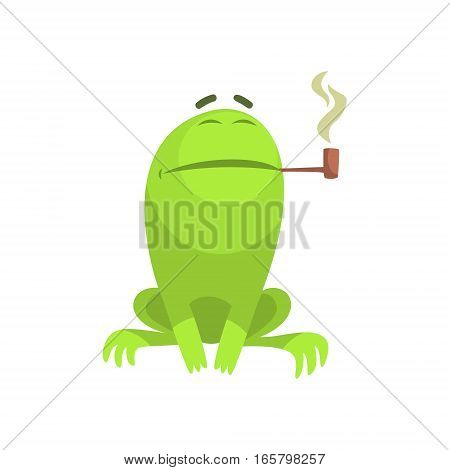 Green Frog Funny Character Smoking A Long Pipe Childish Cartoon Illustration. Flat Bright Color Isolated Funny Toad Life Situation Vector Sticker.
