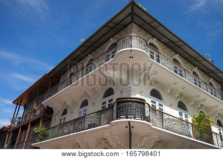 colonial architectural details in the Casco Viejo area of Panama City