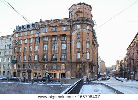 St. Petersburg, Russia - 2 December, Old house Petrograd Side, 2 December, 2016. Old courtyard of the historic St. Petersburg.
