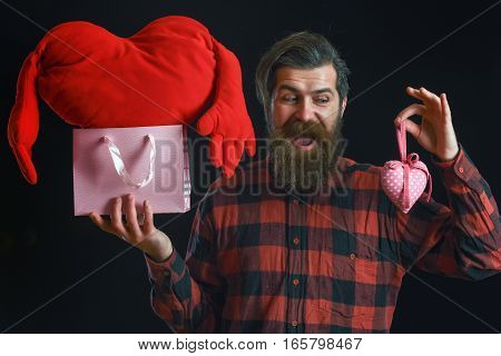 Bearded Man With Heart And Package