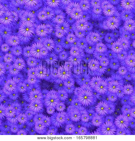 Beauty flowers scatering in wall 3D illustration