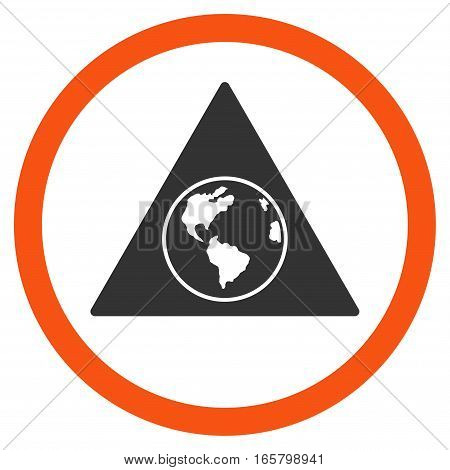 Terra Triangle vector bicolor rounded icon. Image style is a flat icon symbol inside a circle, orange and gray colors, white background.