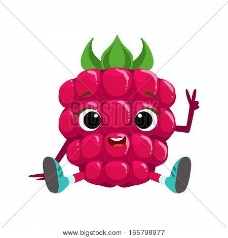 Big Eyed Cute Girly Raspberry Character Sitting, Emoji Sticker With Baby Berry. Cartoon Humanized Character Colorful Vector Icon.