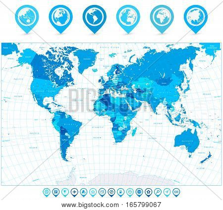 World Map in colors of blue and map pointers. Highly detailed vector illustration of World Map.
