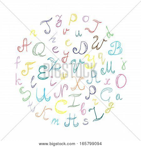 Hand Drawn Doodle Font. Children Drawings of Colorful Scribble Alphabet Arranged in a Circle. Vector Illustration.