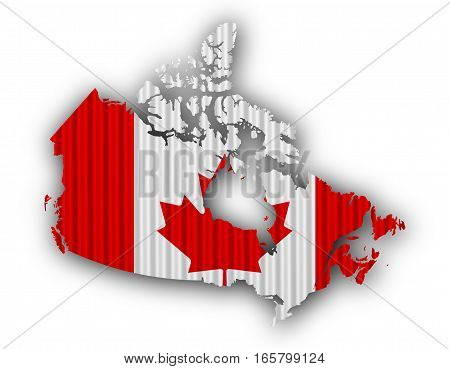 Map And Flag Of Canada On Corrugated Iron