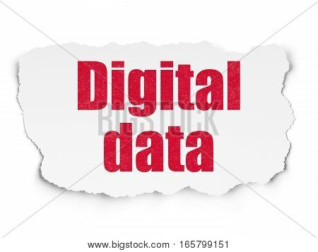 Information concept: Painted red text Digital Data on Torn Paper background with  Tag Cloud