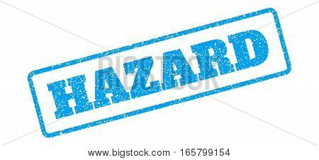 Blue rubber seal stamp with Hazard text. Vector caption inside rounded rectangular shape. Grunge design and scratched texture for watermark labels. Inclined blue sticker on a white background.