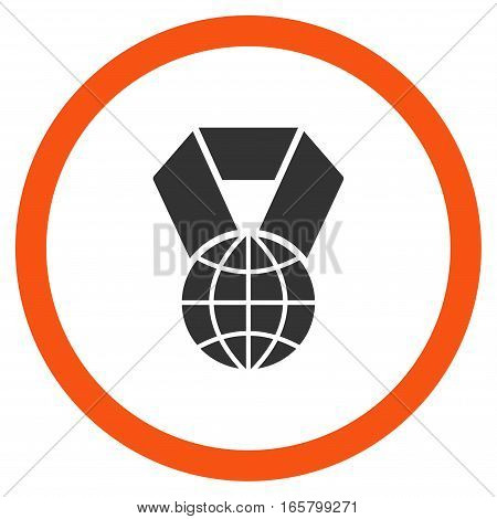 World Award vector bicolor rounded icon. Image style is a flat icon symbol inside a circle, orange and gray colors, white background.