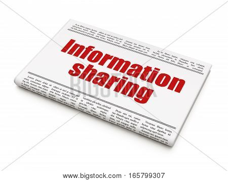 Information concept: newspaper headline Information Sharing on White background, 3D rendering