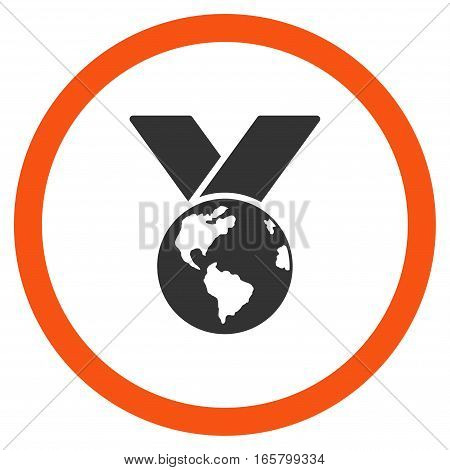 World Medal vector bicolor rounded icon. Image style is a flat icon symbol inside a circle, orange and gray colors, white background.