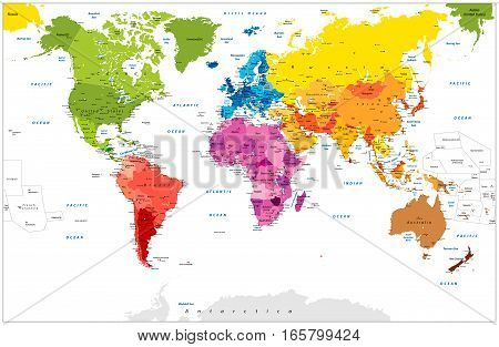 Detailed World Map spot colored illustration. Highly detailed spot colored illustration of World Map: land contours countries and land names city names and water object names.