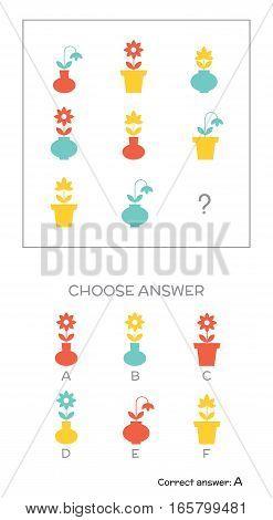 IQ test. Choose answer. Logical tasks composed of geometric flower shapes. Vector illustration poster