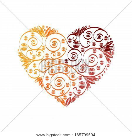 Stock vector illustration isolated heart decor red, orange, vinous quilling multicolored patterns on white background for greetings cards, printed materials, design element, Happy Valentines Day