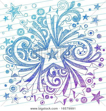 Hand-Drawn Sketchy Notebook Starburst Doodles on Lined Paper Background