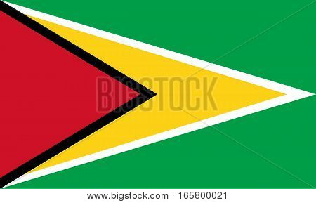 Detailed and accurate illustration of colored flag of Guyana