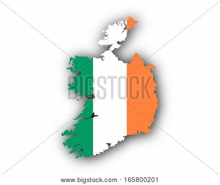 Detailed and accurate illustration of map and flag of Ireland