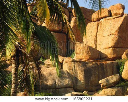india hampi nepal stone tree rock lanscape