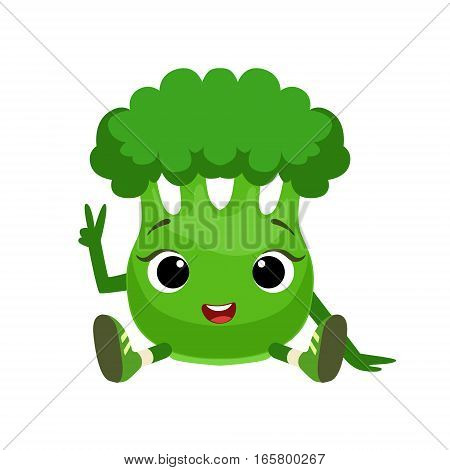 Big Eyed Cute Girly Broccoli Character Sitting, Emoji Sticker With Baby Vegetable. Cartoon Humanized Character Colorful Vector Icon.