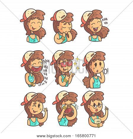 Girl In Cap, Choker And Blue Top Collection Of Hand Drawn Emoji Cool Outlined Portraits. Set Of Funky Flat Vector Stickers With Teenager Different Emotional Facial Expressions In Comics Style.
