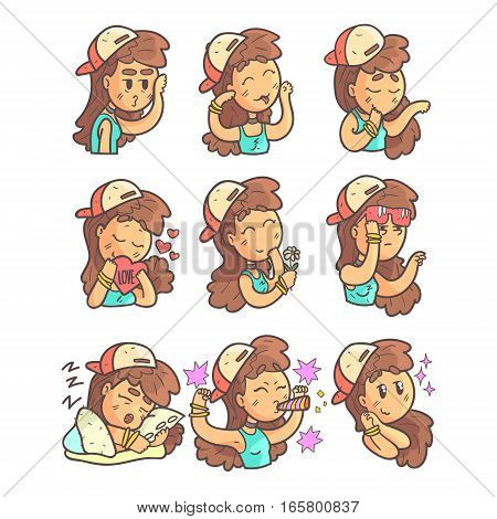 Girl In Cap, Choker And Blue Top Collection Of Hand Drawn Emoticon Cool Outlined Portraits. Set Of Funky Flat Vector Stickers With Teenager Different Emotional Facial Expressions In Comics Style.