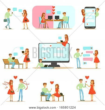 People Finding Love And Dating Using Dating Web Sites And App On Smartphones And Computers Infographic Illustration. Cartoon Characters Couple On Dates And Communicating Online Trough Messages And Texts.