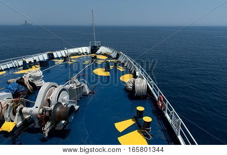 Foredeck of a cruise ship sailing in the ocean