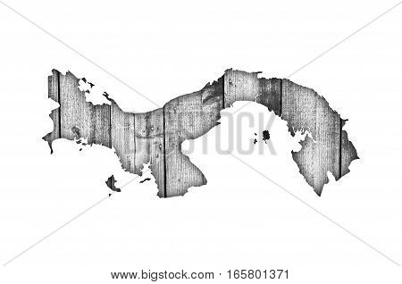 Map Of Panama On Weathered Wood