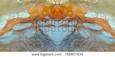 Effects of erosion in the desert sands, symmetrical photographs of landscapes of the deserts of Africa from the air,