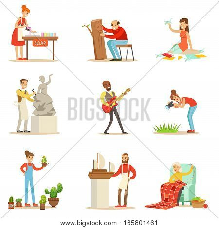 Adult People And Their Creative And Artistic Hobbies Series Of Cartoon Characters Doing Their Favorite Things.Smiling Happy Men And Women Expressing Their Creativity Through Art Vector Illustrations.