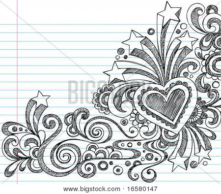 Hand-Drawn Sketchy Doodles on Lined Notebook Paper Vector Illustration