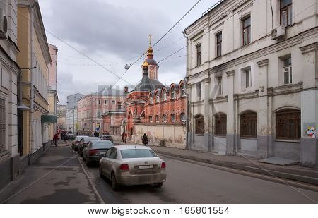 MOSCOW, RUSSIA - MARCH 18, 2016: Podkolokolny lane view of the Church of St. Nicholas the Wonderworker in the Podkopayah was founded in the 15th century soft focus