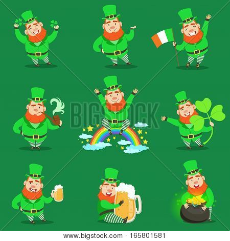Classic Leprechaun In Green Outfit Set Of Emoji Illustrations With Cartoon Character And Irish Symbols. Fantastic Magic Creature From Fairy-Tales And Legends Vector Drawings. poster