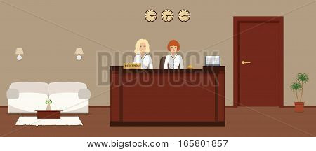 Hotel reception. Young female receptionist behind the reception desk. There is a white sofa and table with flowers also in the picture. Travel, hospitality, hotel booking concept. Vector illustration