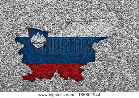 Map And Flag Of Slovenia On Poppy Seeds