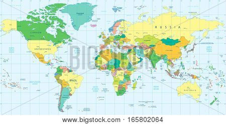 Highly Detailed Political World map. Vector illustration.