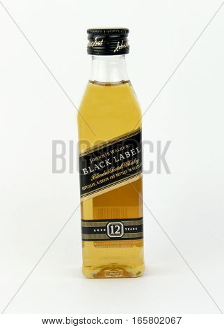 Spencer Wisconsin January192016 Mini bottle of Johnny Walker black label Scotch Whiskey Johnny Walker is a brand of Scotch Whisky owned by Diageo