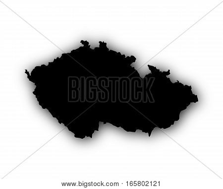 Map Of Czech Republic With Shadow