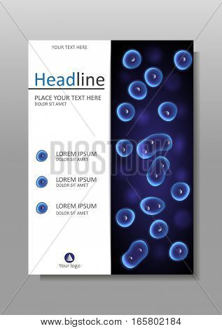 Book cover design on black and blue background cells nucleus. Academic medical scientific biological journals conferences banners flyers reports. Luminescent cell culture effect. A4. Vector.