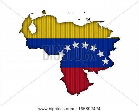 Map And Flag Of Venezuela On Corrugated Iron