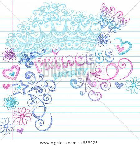Hand-Drawn Sketchy Princess Notebook Doodles and Lettering on Lined Notebook Paper Vector Illustration