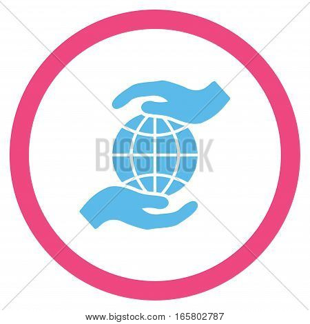 Global Insurance vector bicolor rounded icon. Image style is a flat icon symbol inside a circle, pink and blue colors, white background.