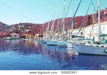Kioni port at Ithaca Ionian islands Greece