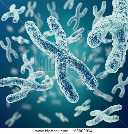 X-chromosomes on background, medical symbol gene therapy or microbiology genetics research with with focus effect, 3d rendering