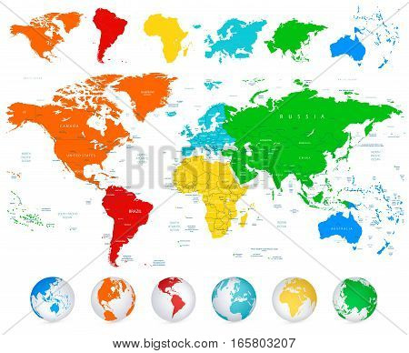 Detailed World map with colorful continents political boundaries country names and 3D globes.